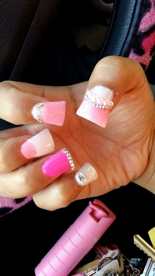 These Are My Chanel Barbie Nails Studs Pearls And A Chanel Symbol And Colors Are White And Pink And Hot Pink The Shape Of My Nails A Nails My Nails Nail