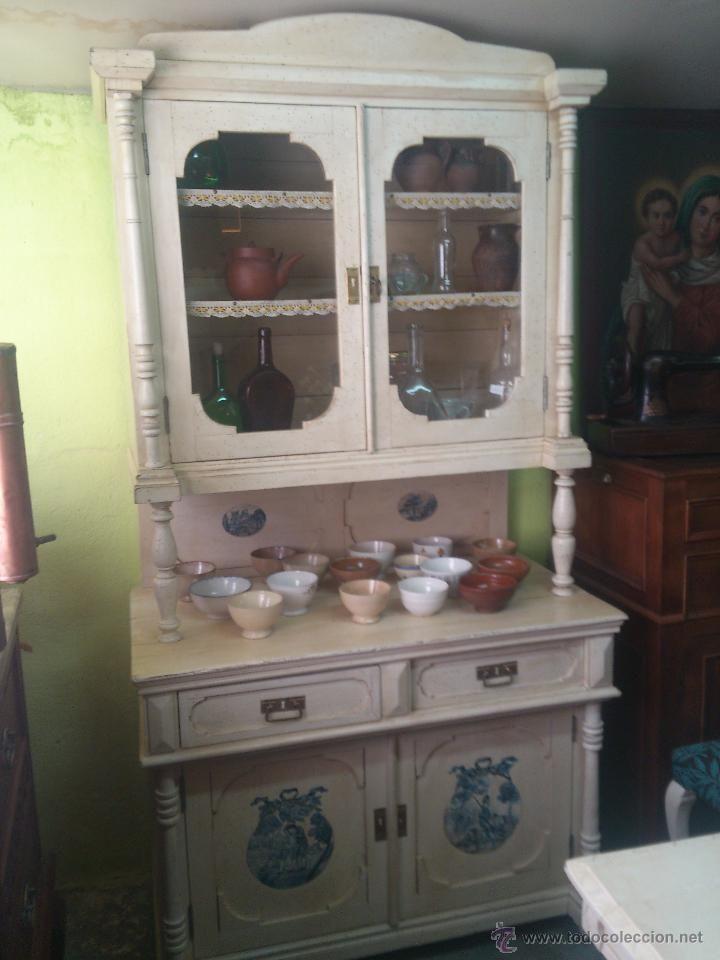 Chinero pintado en color blanco antig edades muebles antiguos aparadores antiguos - Muebles cocina antiguos ...