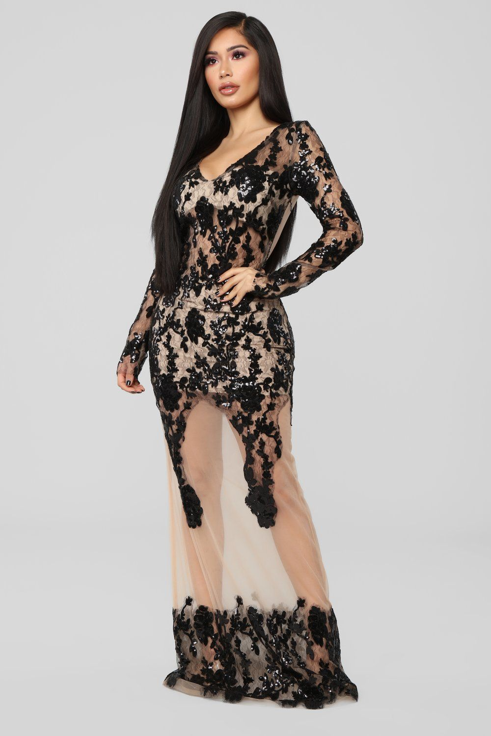 Lingering desire embroidered dress blacknude in style