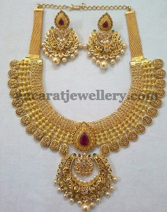 chandbali necklace pendant diamond uncut with