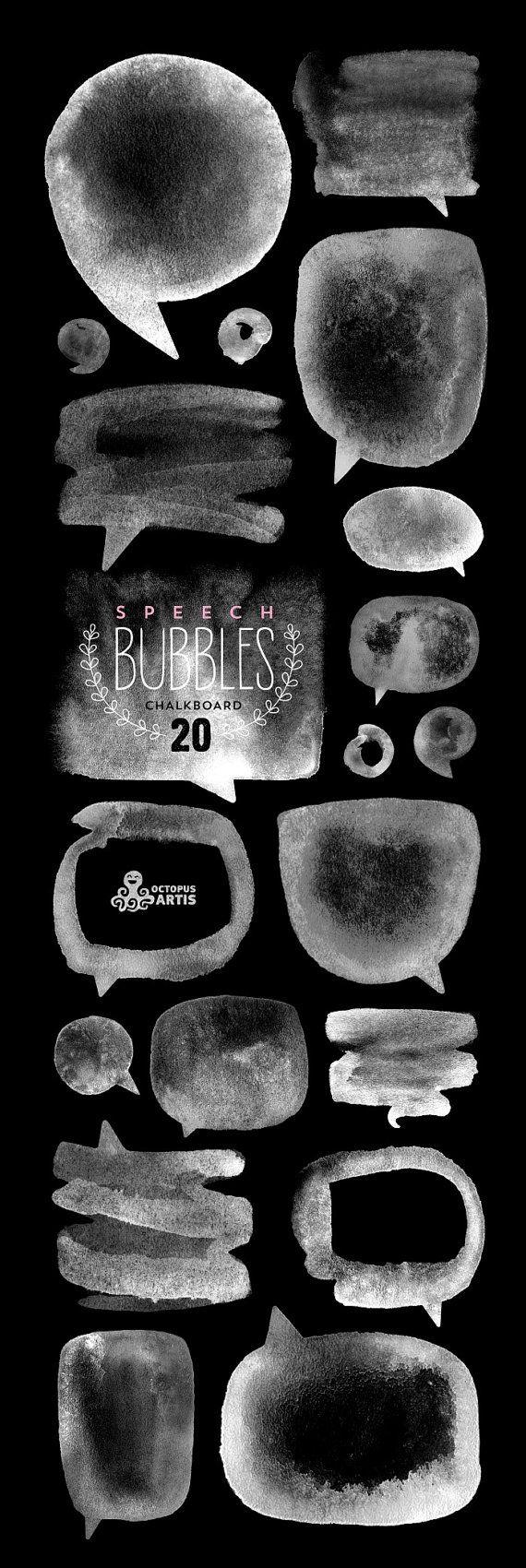 Speech Bubbles Chalkboard: 20 Digital files. Handmade, chalkboard clipart, diy elements, invite, black&white bubbles