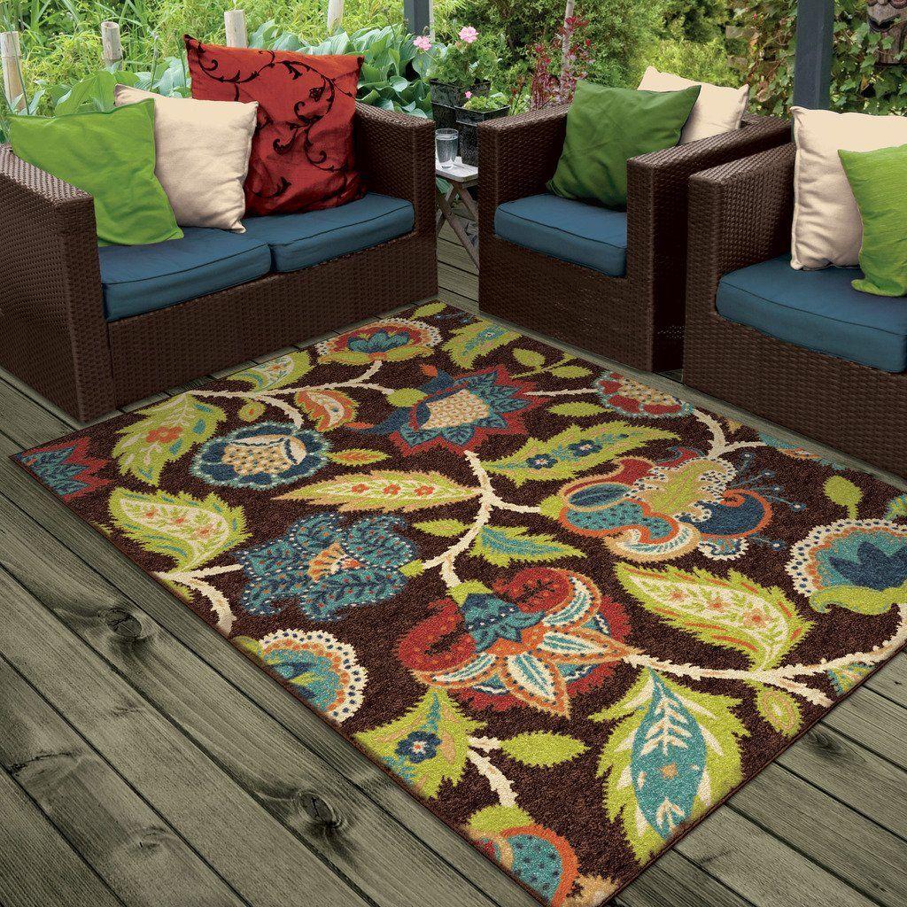 Indoor Outdoor Rugs Floral Design Luxury Area Rug Modern Rugs