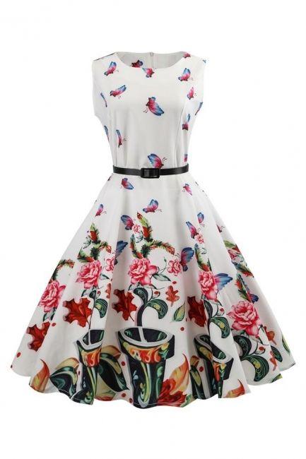 Rockabilly Kleid Weis Blumenkleid | Kurze Cocktailkleid ...