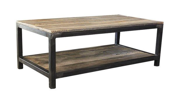 Reclaimed Wood And Metal Coffee Table Two Tier Free