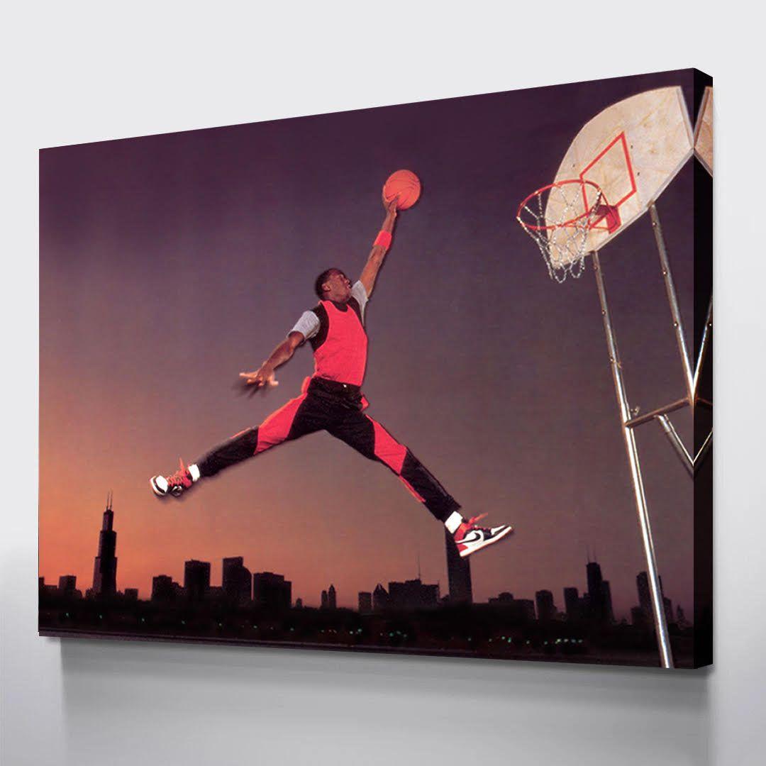 Canvas Club Air Jordan Michael Jordan Dunk Basketball Etsy Wall Canvas Canvas Wall Art Gallery Wrap Canvas