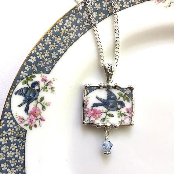 Brisé Bijoux Pendentif collier bluebird antique Chine avec des