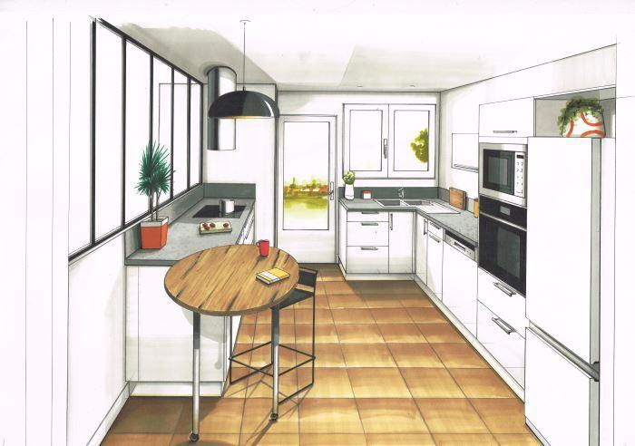 Dessin Realise Aux Feutres D Une Cuisine Contemporaine Facades Blanche Plan De Travail Beton Cire Cuisine Contemporaine Plan De Travail Beton Plan De Travail