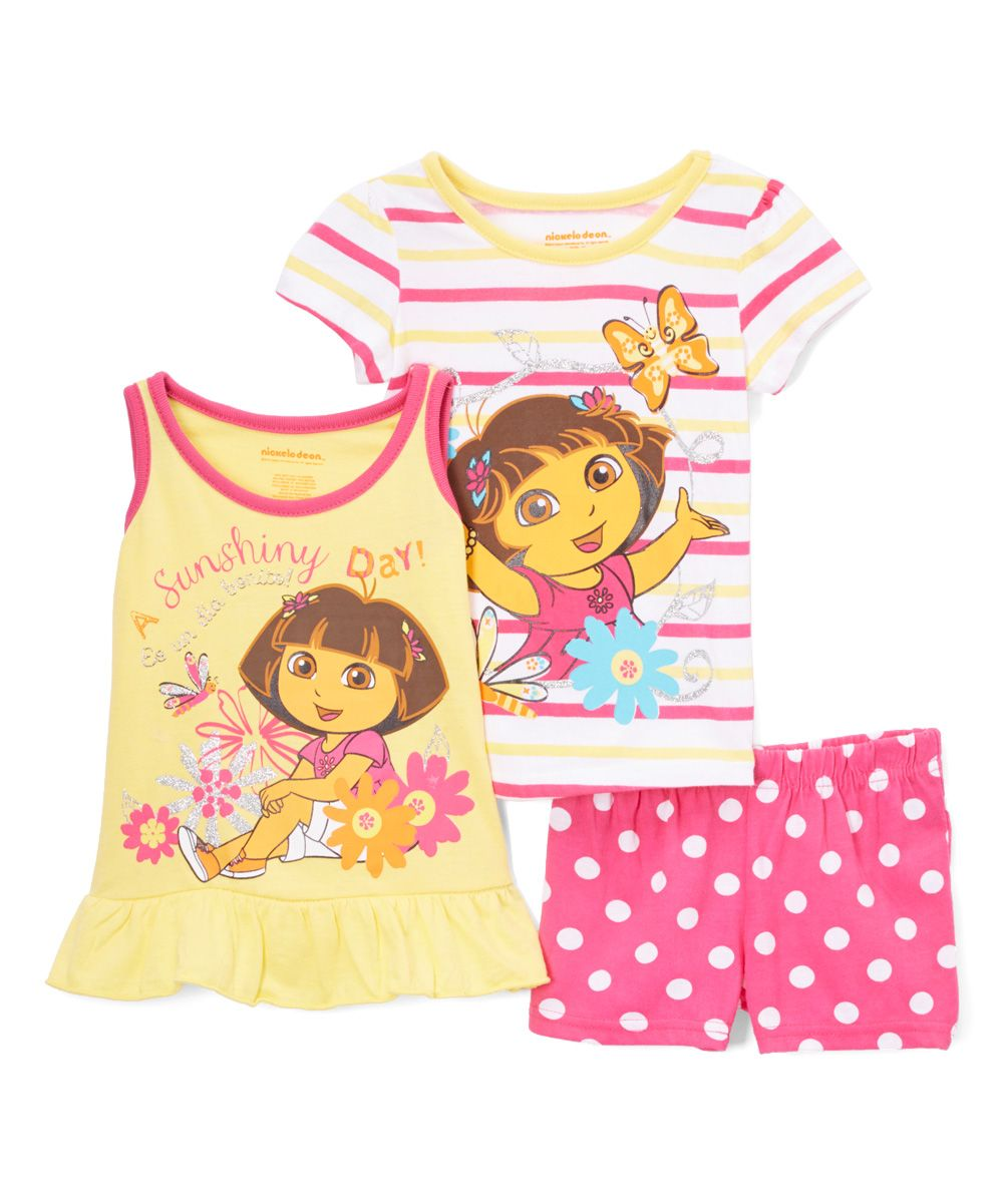 Dora the Explorer Yellow & Pink Tank Set - Girls