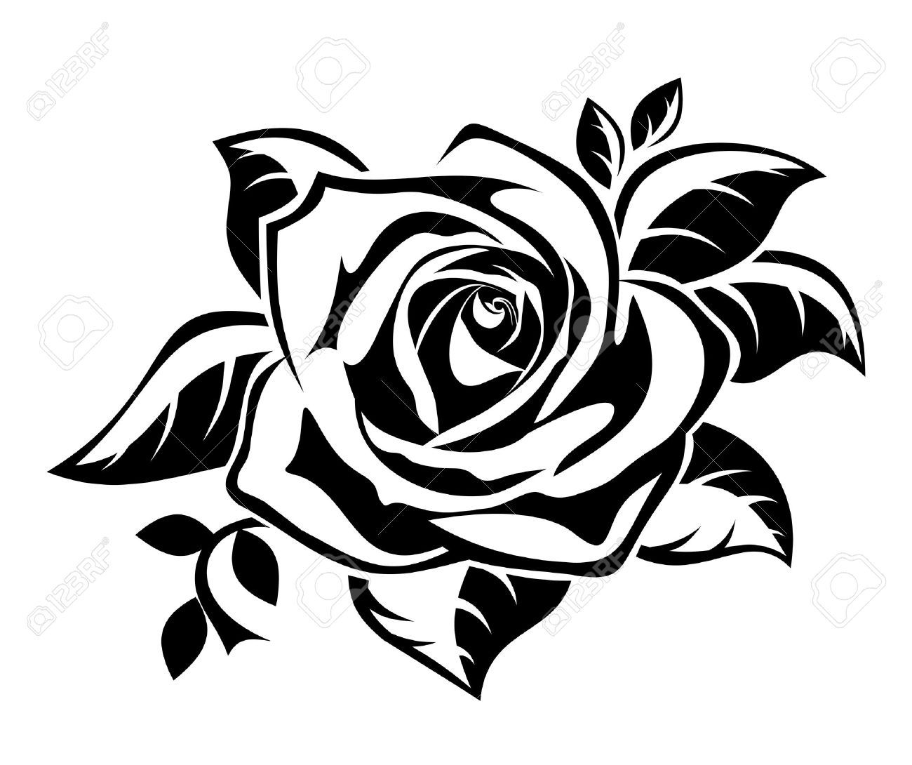 clipart roses black and white - photo #32