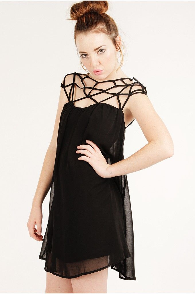 Black Amazing Chiffon Trendy Cage Dress Casual Dresses Casual