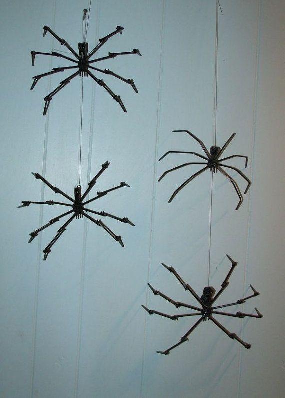 Spider Metal Sculpture Black Halloween Decoration by ARTicklesME - spiders for halloween decorations