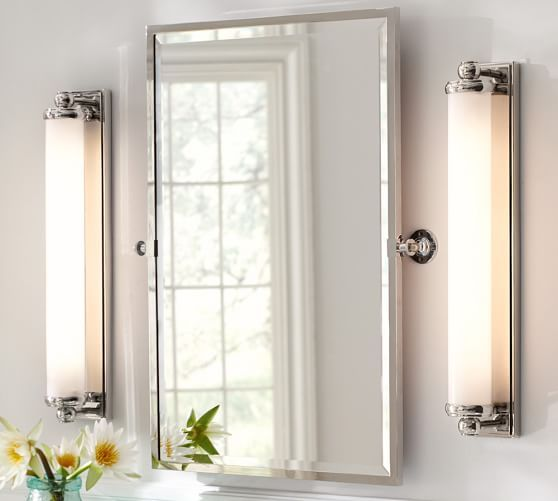 "Bathroom Sconces Pottery Barn 27"" wide x 5.5"" deep x 4.25"" high mercer extra-long tube sconce"