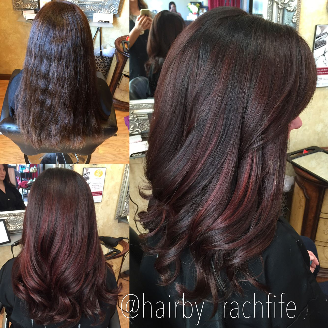 Deep Red Balayage Highlights Custom Color Hair By Rachel Fife Sf Salon Balayage Hair Hair Highlights Brown Hair Balayage
