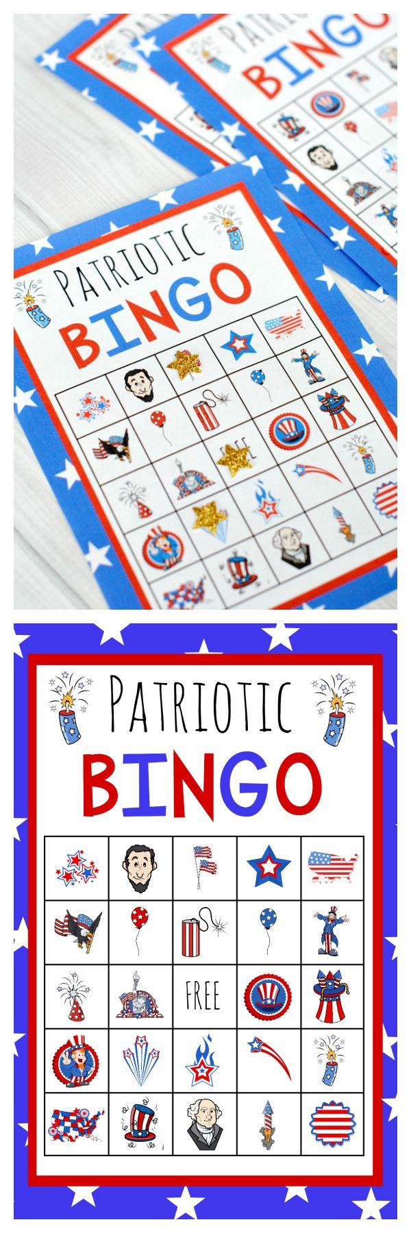 Patriotic 4th Of July Bingo Game To Print July Crafts