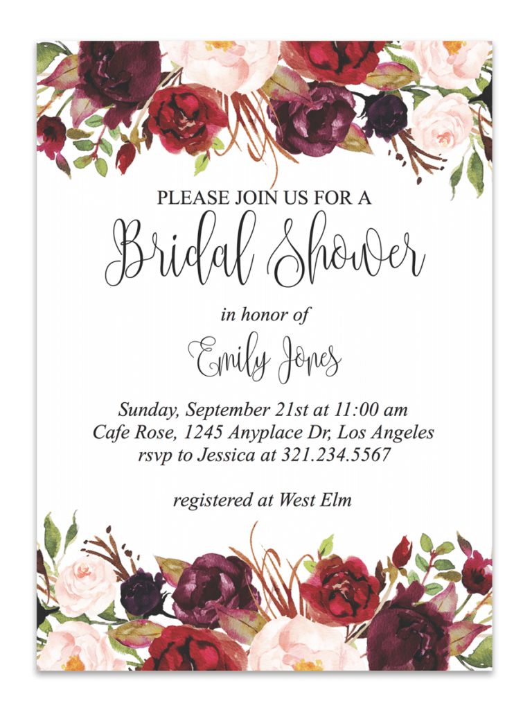 image about Bridal Shower Invitations Free Printable named Marsala Floral Printable Bridal Shower Invitation Marriage