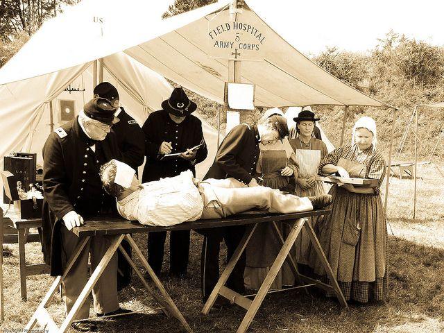 Reenactment Civil War Field Hospital at Fort Stevens, OR by