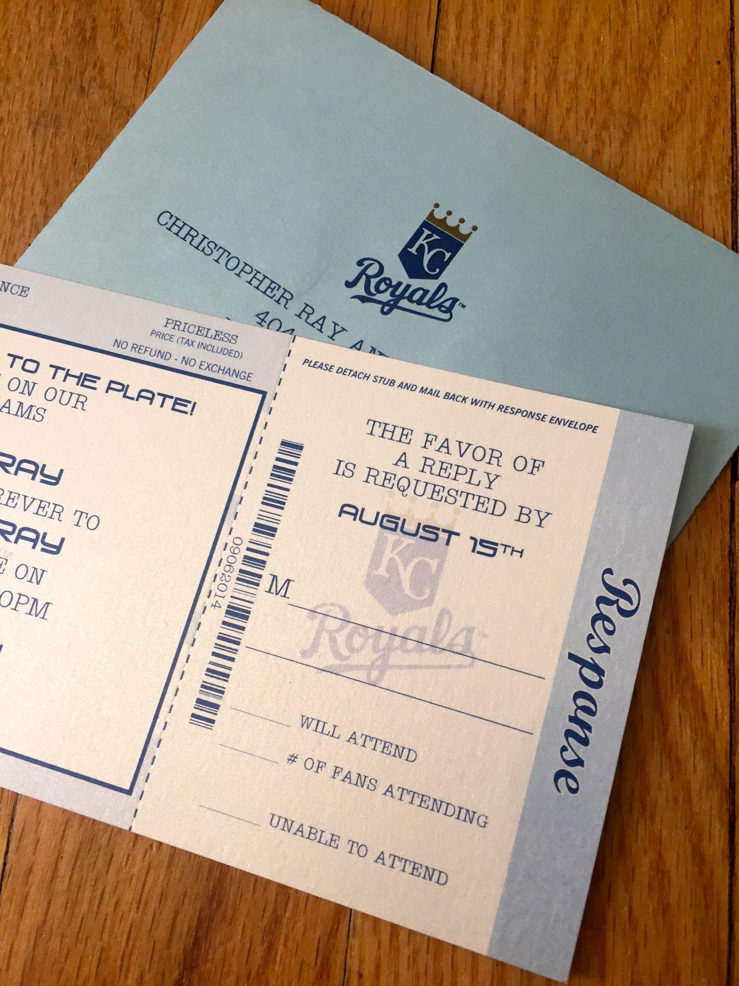 Kc Royals Themed Baseball Ticket Wedding Invitations Stationery