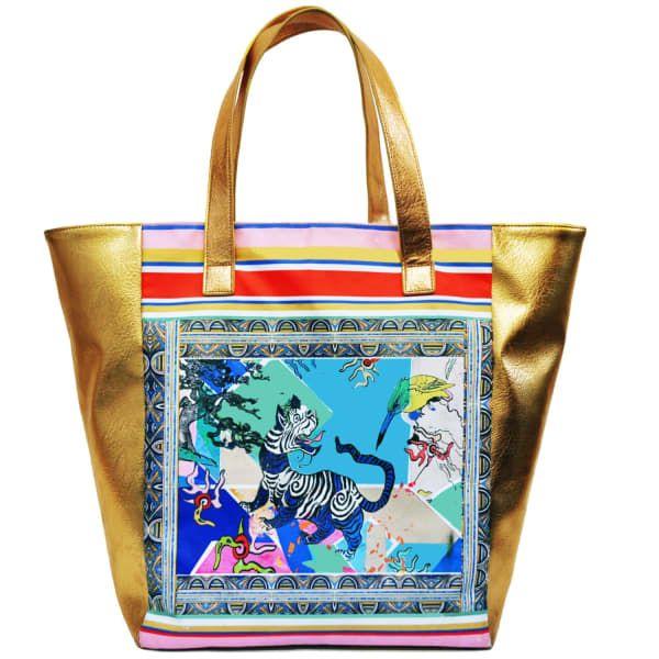 Oriental Tiger Giant Beach Bag Vegan Leather Jessica Rus Flint Wolf Badger