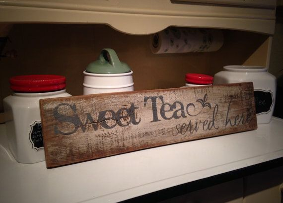 Let your Southern out with this beautiful rustic upcycled sign. If you love sweet tea while sitting on porch swings then this sign belongs with
