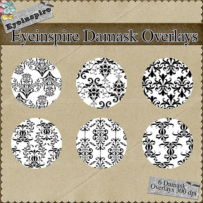 Create your own digital scrapbooking papers with these gorgeous damask overlay patterns.