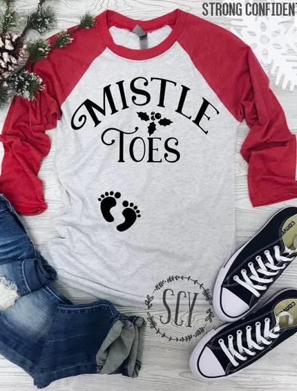 e00b52bf8812f Mistle Toes Pregnancy Shirt - Christmas Pregnancy Tee Shirt - Holiday  Pregnancy Baseball T-Shirt - Funny Pregnancy Announcement, #ad #pregnancydiy