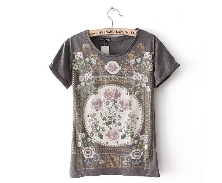 Women Vintage Flower Prints O neck Casual Short Sleeves T shirts Ladies' Tees,freeshipping TS2001 D02 -in T-Shirts from Apparel & Accessories on Aliexpress.com
