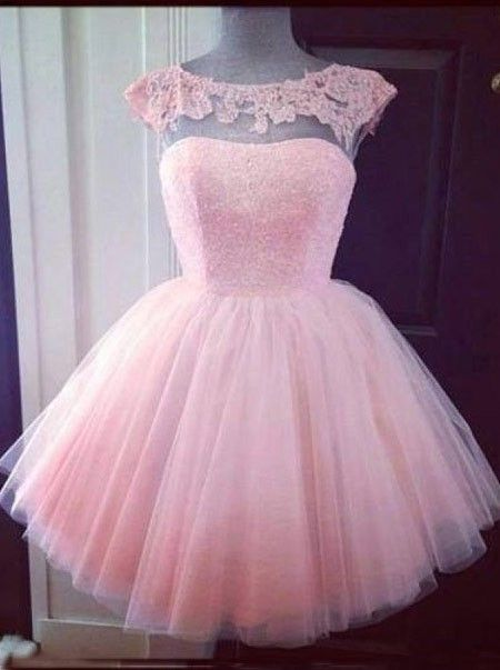 56a9d21c940 Elegant Bateau Pink Short Tulle Homecoming Dress with Appliques Beading.  Pretty Pink Prom Dress Light ...
