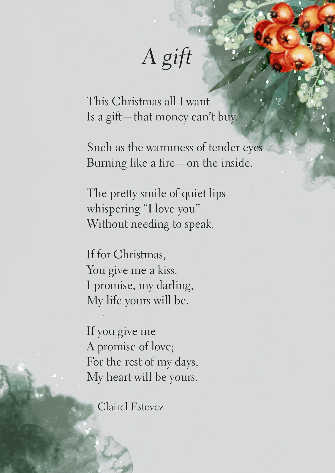 A Gift Christmas love poem Love poems, Poems, Christmas