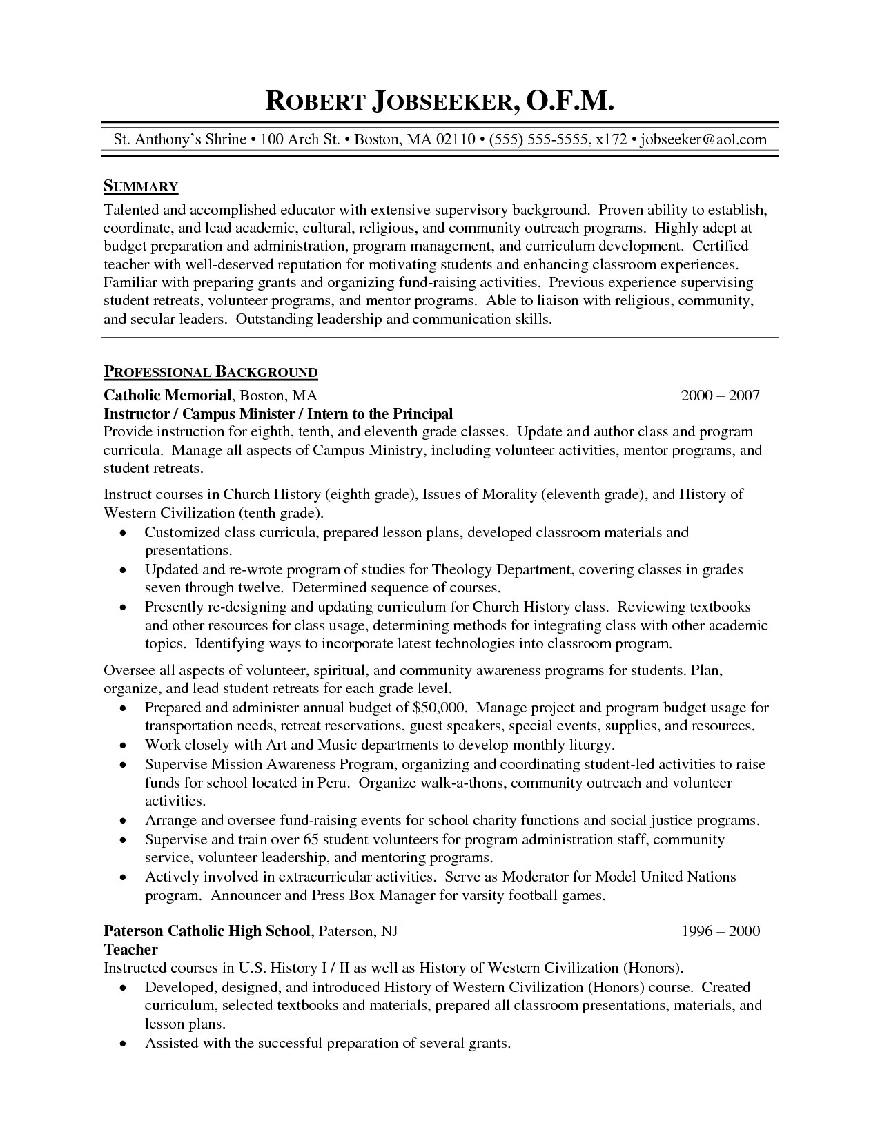 Sample High School Teacher Resume Perfect  Home Design Idea