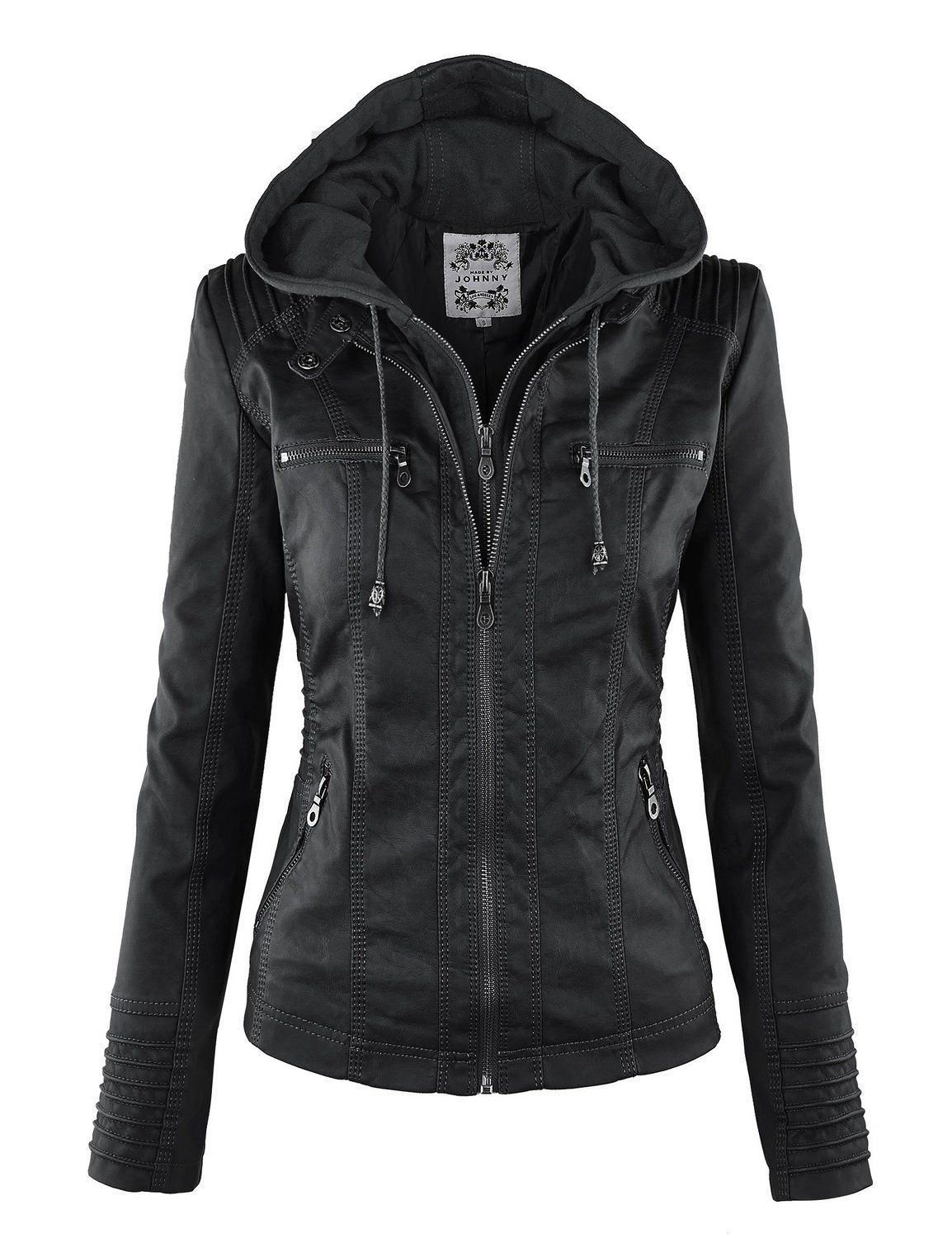 Womens Casual Motorcycle Fleece Hoodie Faux Leather Jacket | Style ...