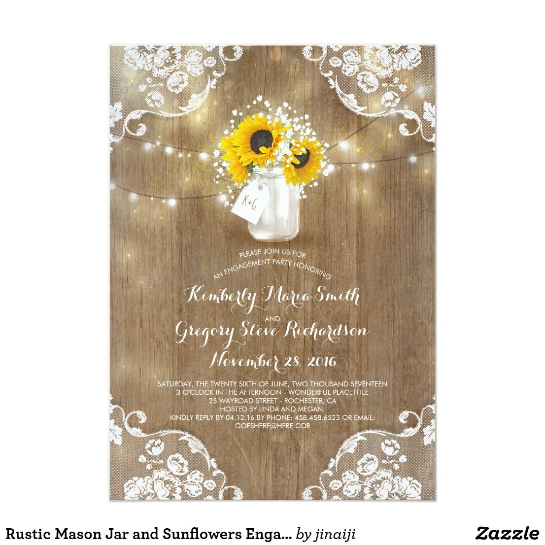 Rustic Mason Jar and Sunflowers Engagement Party | engagement party ...