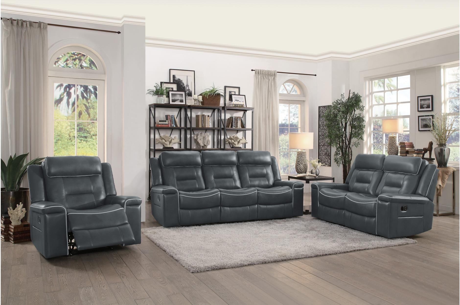 Homelegance 9999dg 3 Darwan Dark Grey Leather 3 Pcs Recliner Sofa Set Living Room Sets Leather Living Room Set Sofa Set