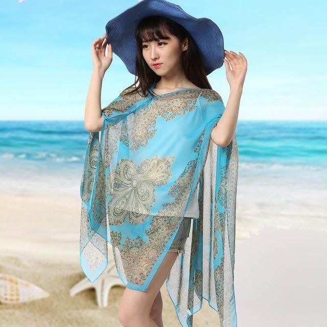 695a0b64ead9e Large Chiffon Sunscreen Beach Tunic Shawl Scarfs Flower Poncho Cape Scarf  Women Kaftan Kimono Bikini Beachwear Swimsuit Cover Up