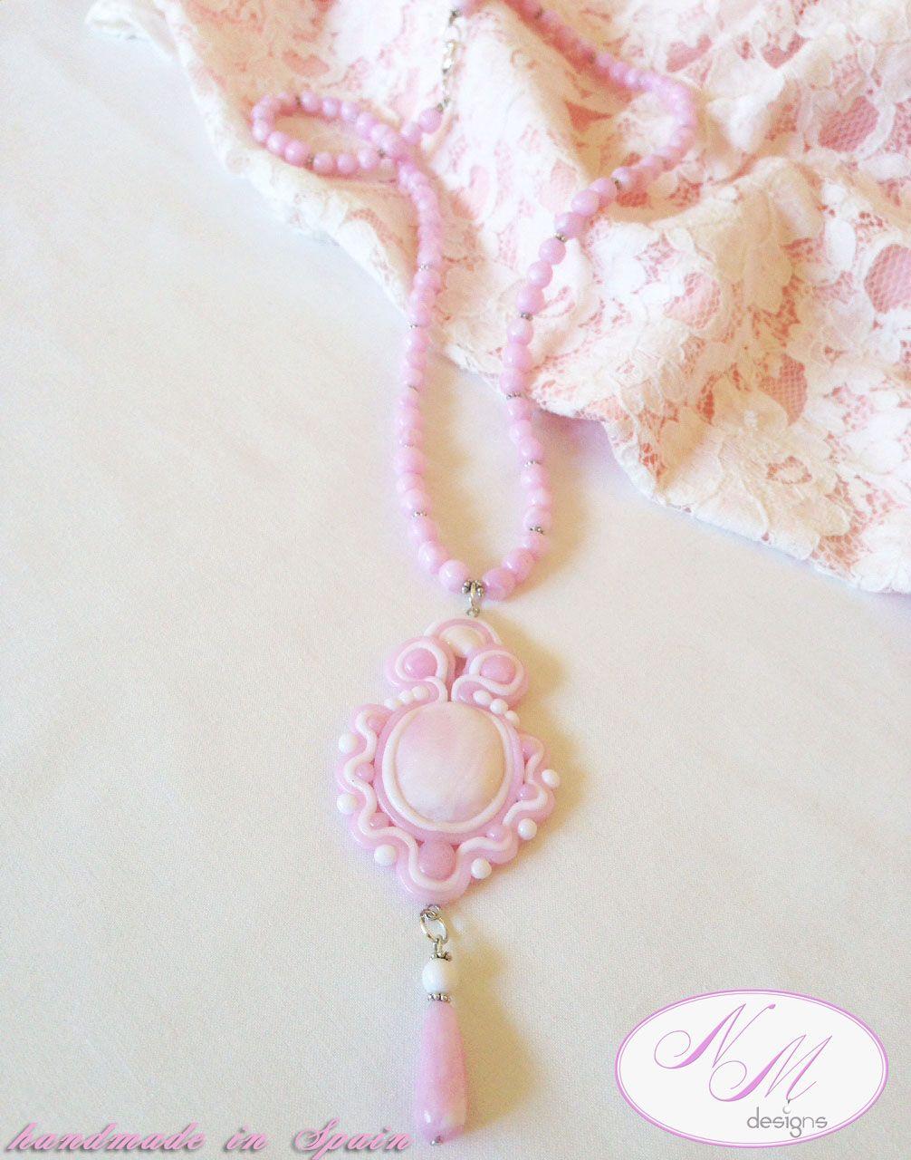"""""""Pink lace"""" NM Designs. Soutache technique with FIMO"""