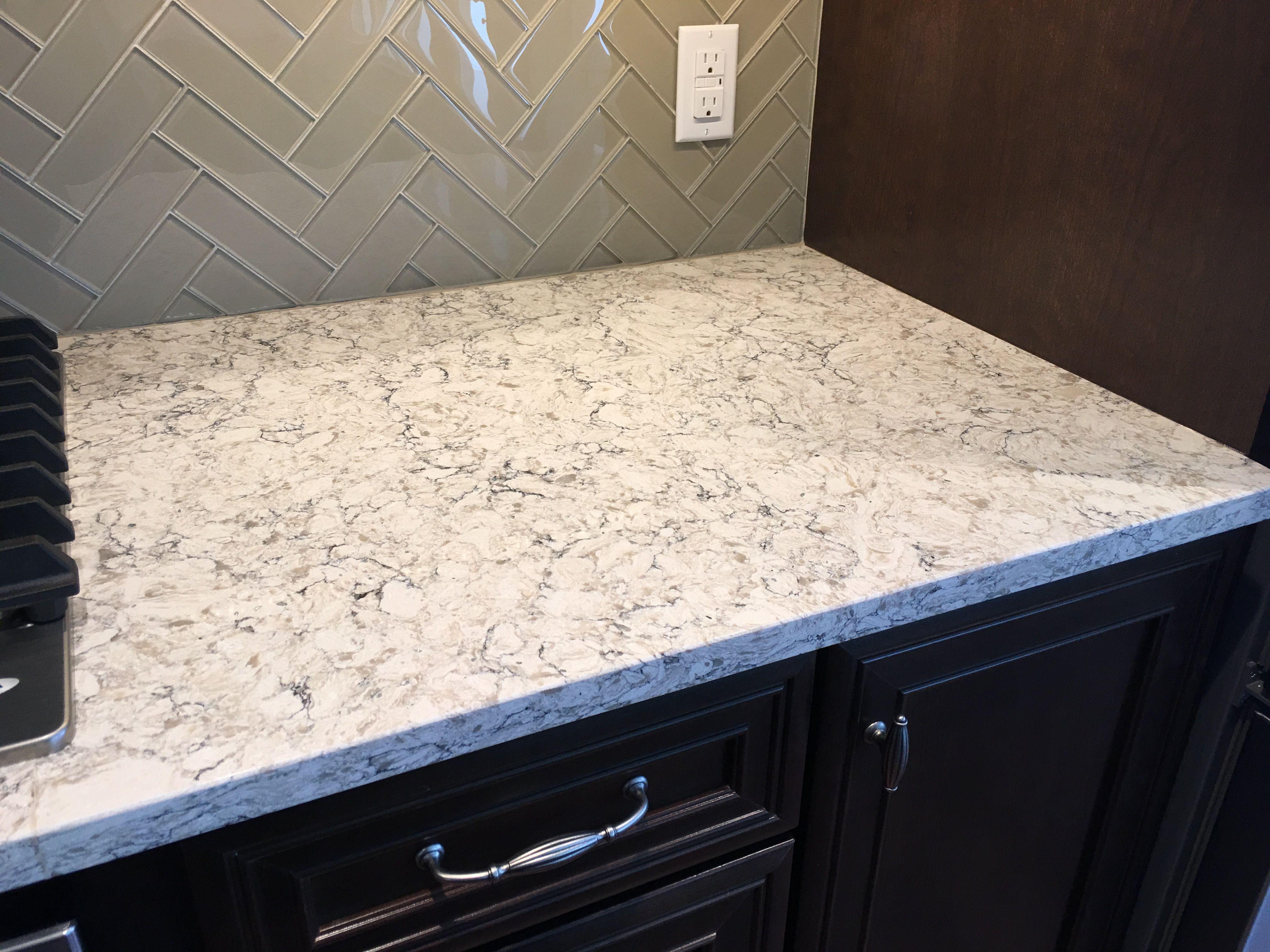 Viatera Quartz Countertop In Aria Quartz Kitchen Countertops Beadboard Backsplash Quartz Countertops