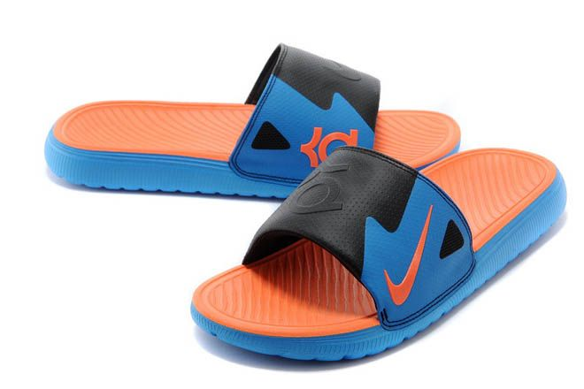 8832604871a22 Nike Solarsoft KD Slide Sandals Vivid Blue Total Orange-Black Colorway
