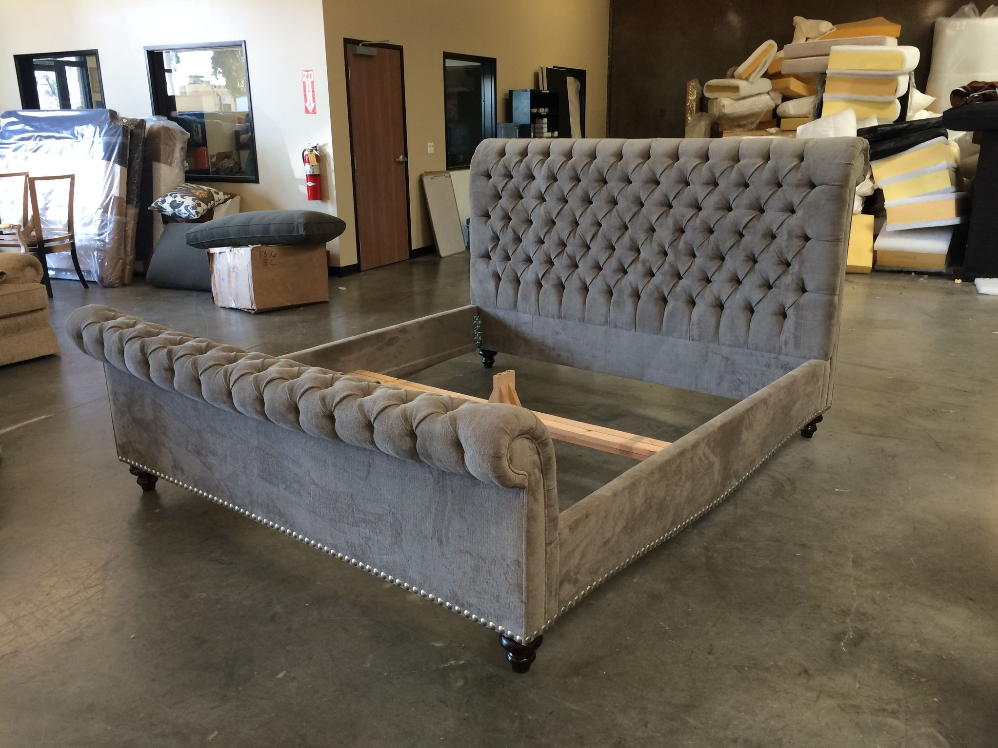 Luxury Tufted Sleigh Bed For Cozy Bedroom Furniture Ideas Tufted