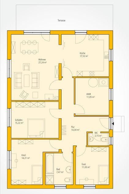 grundriss grundrisse bungalow pinterest grundrisse h uschen grundrisse und grundriss bungalow. Black Bedroom Furniture Sets. Home Design Ideas