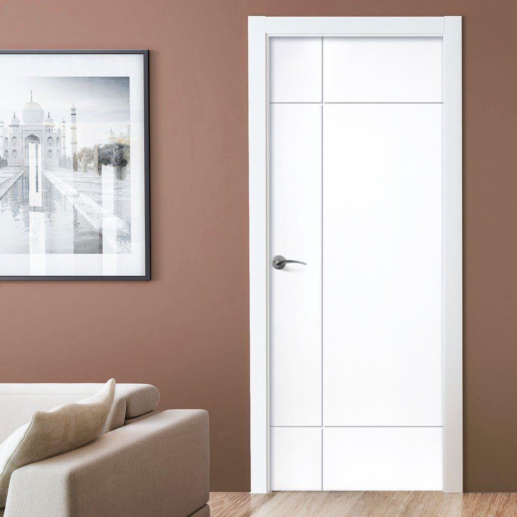 J B Kind White Contemporary Lyric Primed Flush Door 1000 In 2020 Doors Interior Modern Doors Interior Bedroom Door Design