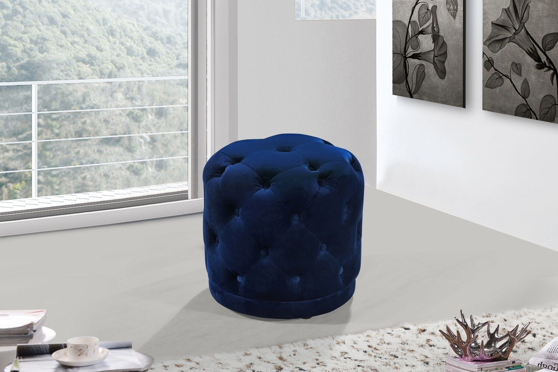 Harper (Navy) price for Bench, Bring brilliant color to life in your room with this Harper Navy Velvet Ottoman/Stool. Jewel-toned upholstery in an eye-grabbing color makes this ottoman a standout in your space, and the deep button tufting adds a glamorous, Hollywood-inspired look. Place this ottoman near a chair in the living room or den to give yourself a posh spot to prop up your feet while you rest and unwind.Ottoman W18
