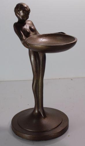 Art-Deco-Nude-Woman-w-Tip-or-Ash-Tray-Metal-Bronze-Art-8-5-x-4-5-Heavy