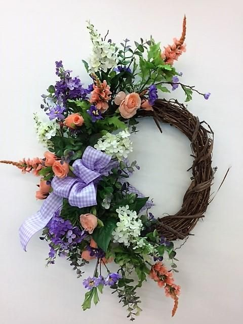 Photo of Purple and Coral Silk Floral Spring Crescent Front Door Wreath/Eng131
