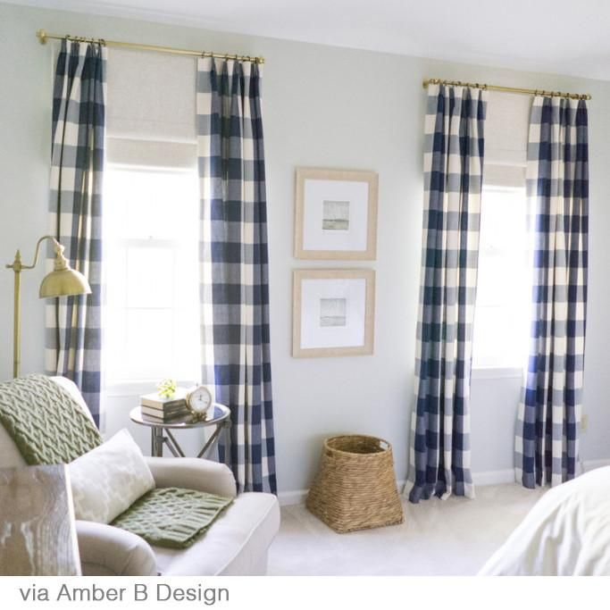 Buffalo Check Navy In 2020 Farm House Living Room Check Curtains Home Decor