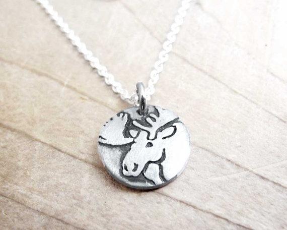 Tiny moose necklace silver moose pendant jewelry pinterest moose tiny moose necklace silver moose pendant aloadofball Images