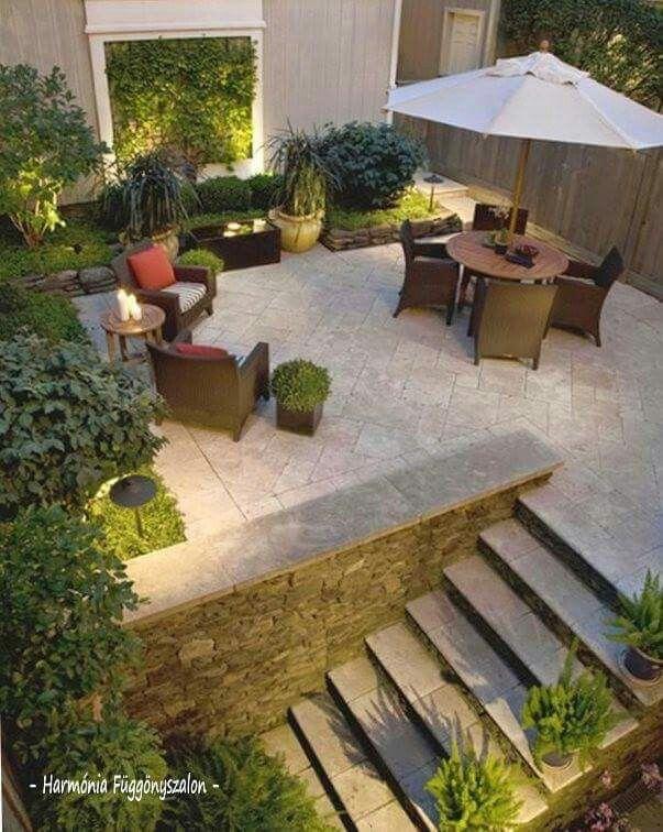 Terraza #jardín #plantas #masetas #jardineras #cascada #comedor ...