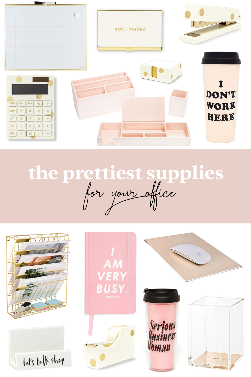 Office Supplies Pretty White And Gold Pink Accessories Desk Bando