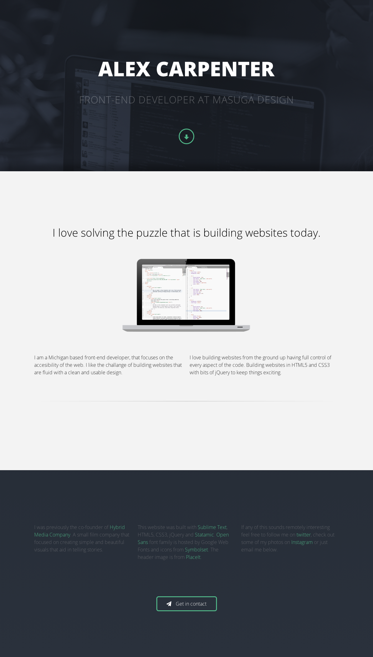 Very Clean And Simple Responsive One Pager For Michigan Based Front End Developer Alex Carpenter One Page Website Web Design First Page