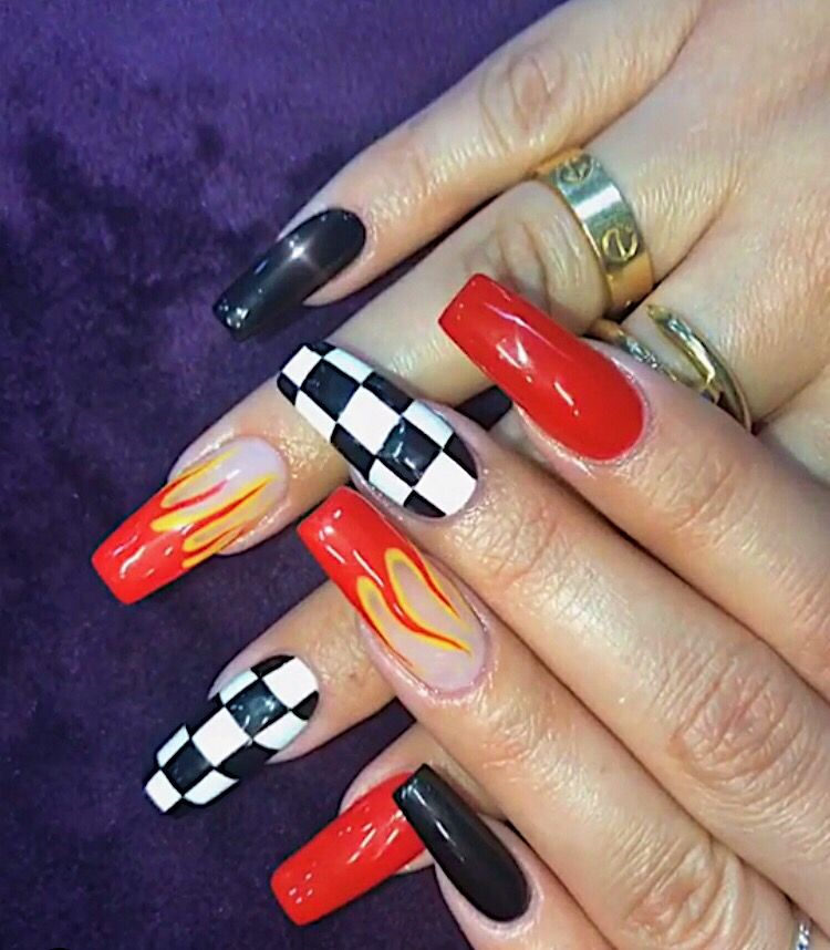 Red Black Checkered Flames Nails Unique Edgy Acrylic Coffin With Images Unique Acrylic Nails Edgy Nails