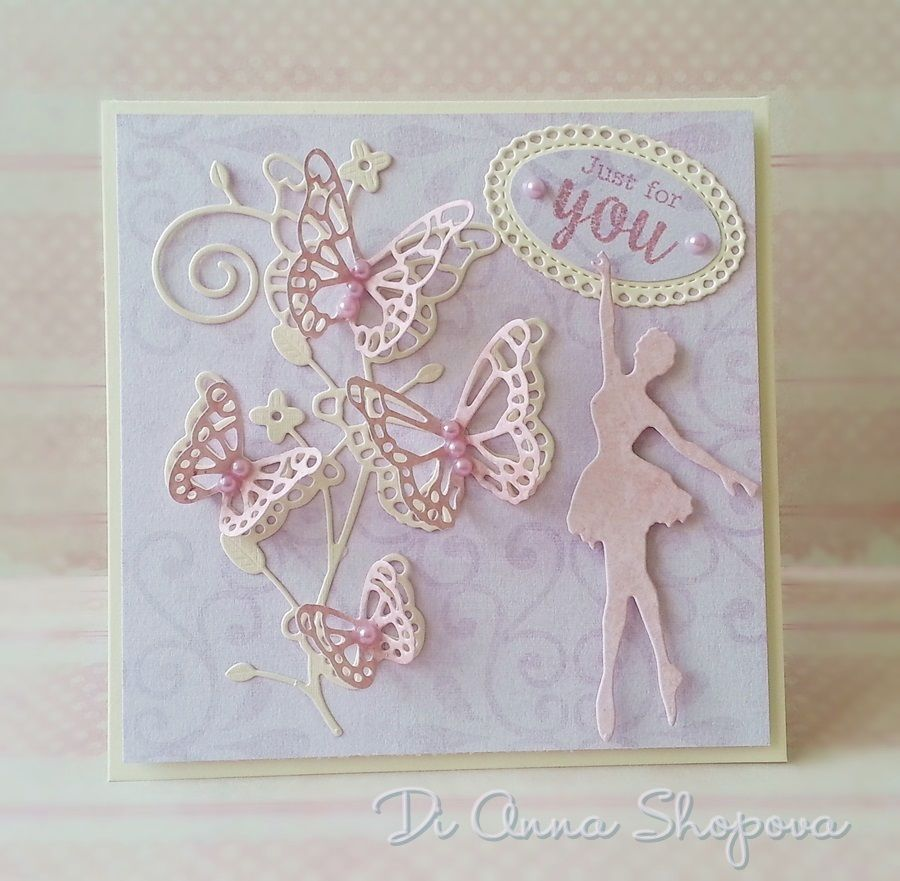Luxury Handmade Birthday Card Female Butterfly Ballerina Dancing