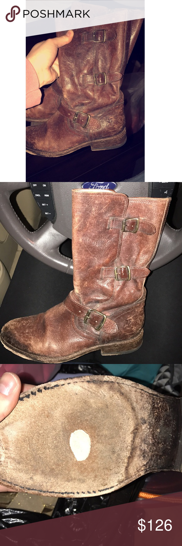 Frye Boots Frye Boots, size 8.5, some wear on bottom of left boot as seen in pictures above, open to offers Frye Shoes Combat & Moto Boots